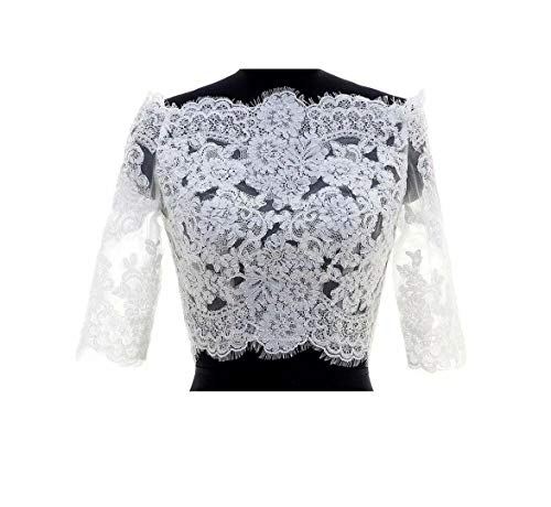 FIDDY898 Off The Shoulder Elegant Lace Half Sleeves Wedding Jacekt Bridal Bolero White EL 16