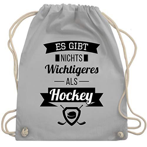 Shirtracer Eishockey - Es gibt nichts Wichtigeres als Hockey - Unisize - Hellgrau - eishockey schläger - WM110 - Turnbeutel und Stoffbeutel aus Baumwolle