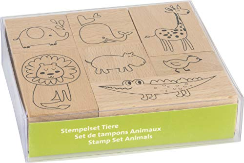"Heyda 204888688 Stempel-Set ""Tiere"" Setgröße 12 x 10 x 3 cm, 7 Holz-Stempel"