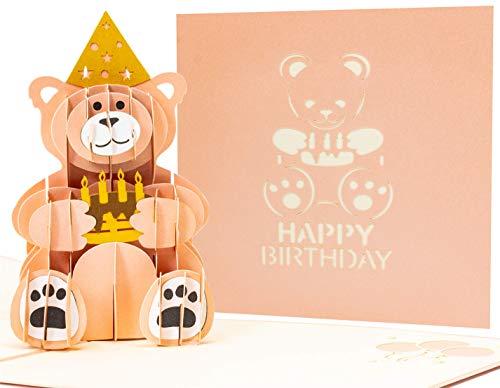LIMAH® Tarjeta de cumpleaños pop up 3D con un oso y una tarta de cumpleaños en las patas y un cono de fiesta. Ideal para cumpleaños infantiles o fiestas de cumpleaños (rosa).