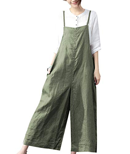YESNO Women Casual Loose Long Bib Pants Wide Leg Jumpsuits Baggy Cotton Rompers Overalls with Pockets (L PZZTYP2 Dark Army Green)