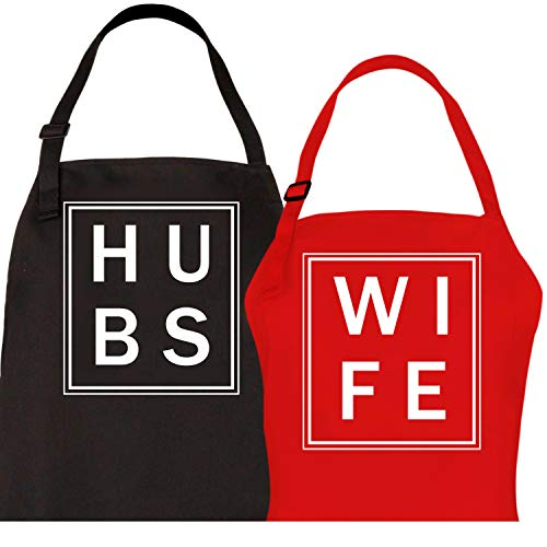 Let the Fun Begin Mr and Mrs Aprons, Hubs Wife Apron Set for Couples, His Hers Wedding Anniversary Bridal Shower