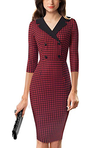HOMEYEE Vestido Ajustado de Oficina con Cuello en V y Cuello en V de Mujer Vintage B570 (L, Rojo Oscuro + Negro)