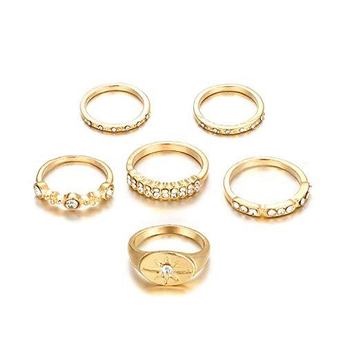 CTDMMJ 6 unids/Set Bohemia Gold Crown Sun Rhinestone Knuckle Finger Midi Anillos Set para Mujer Anillo Joyería-Oro