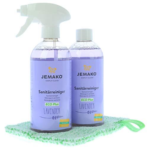Jemako Sanitärreiniger Lavender 1000 ml - DuoTuch klein 18 x 14 cm grüne Faser - inkl. Schaumpumpe und Sinland feinmaschiges Wäschenetz