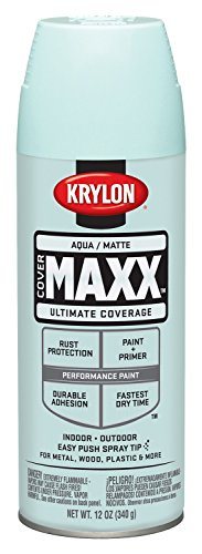 Krylon K09150000 COVERMAXX Spray Paint, Matte Aqua, 12 Ounce