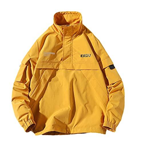 Mens Hip Hop Streetwear Jacket Coat Harajuku Jacket Male Windbreaker Stand Collar Autumn Spring Jackets yellow 4XL