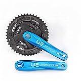 Manivela De Bicicleta MTB bicicletas Crank Set Biike bielas de aleación de aluminio de agujeros cuadrados Conjunto de platos Rueda dentada de piezas de bicicletas Bielas De Bicicleta ( Color : Blue )