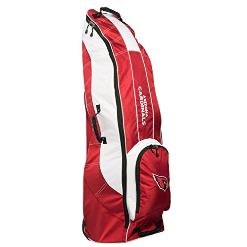 Team Golf NFL Arizona Cardinals Travel Golf Bag, High-Impact Plastic Wheelbase, Smooth & Quite Transport, Includes Built-in Shoe Bag, Internal Padding, & ID Card Holder