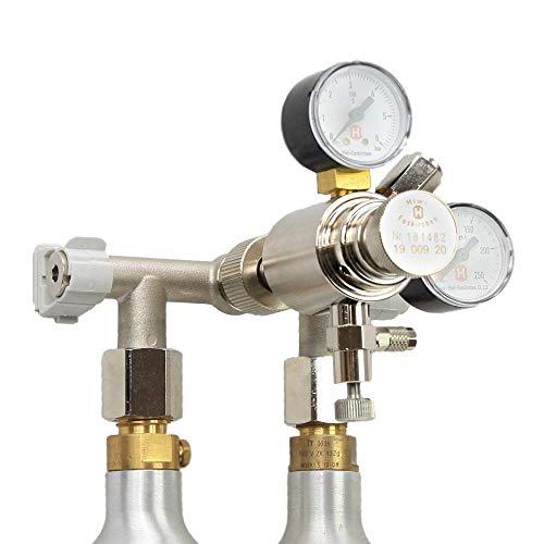 Hiwi Hochdruck CO2 Wand Verteiler für Wassersprudelflaschen 425g 2-LTG CO2 Anlage CO2 Verteiler Druckminderer Kohlensäure