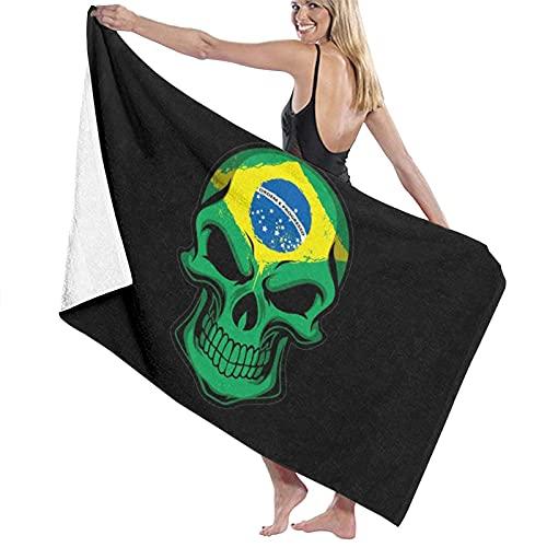 Asciugamano da spiaggia in microfibra con motivo bandiera del Brasile, per uomini e donne, ad asciugatura rapida, per piscina, bagno, viaggi, sport, hotel (132,1 x 81,3 cm)