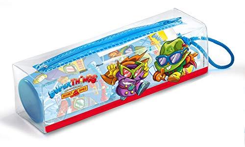 Superthings Set Infantil De Higiene Dental Con Neceser, Pasta De Dientes 75ml, Cepillo Dental Con Capuchón Y Vaso Decorado 60 G, Multicolor