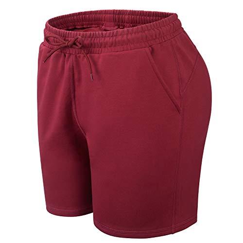 Pantaloncini da donna in cotone con tasche, ad asciugatura rapida, per jogging, ciclismo, yoga, tennis, fitness, boxing, casa, estate, Burgundy, XS