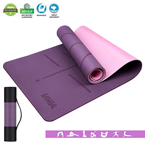 Yoga Mat for Women & Men Complete with Mesh Shoulder Bag. Eco-Friendly Padded Exercise & Workout Mat with Guide Lines for Assisted Body Alignment. Non Slip TPE Yoga Mats 1/4 Inch Thick Pink Purple