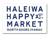 ハレイワハッピーマーケット ステッカー スクエア HALEIWA ブルー 03 HHM083 おしゃれ ハワイ ノースショア グッズ