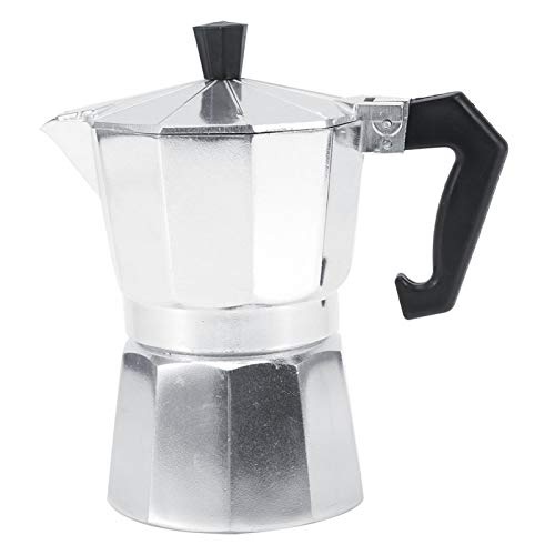 Cafetera de aluminio, cafetera Moka, cafetera Moka, cafetera exprés de 3/6/9/12 tazas, herramienta de cocina para uso en la oficina para uso(150ML 3cups)
