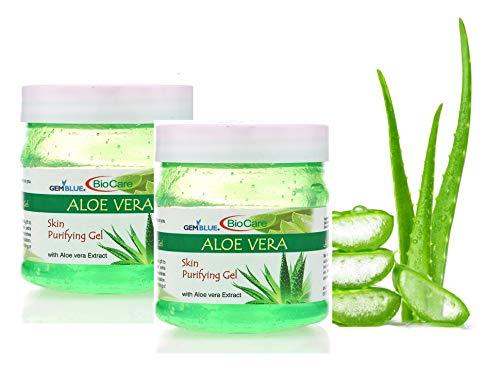 Gemblue Biocare Aloe vera gel ; Bio Organic Non-Toxic Aloe Vera Gel for Acne, Scars, Glowing & Radiant Skin Treatment-500ml each (1000 ML)