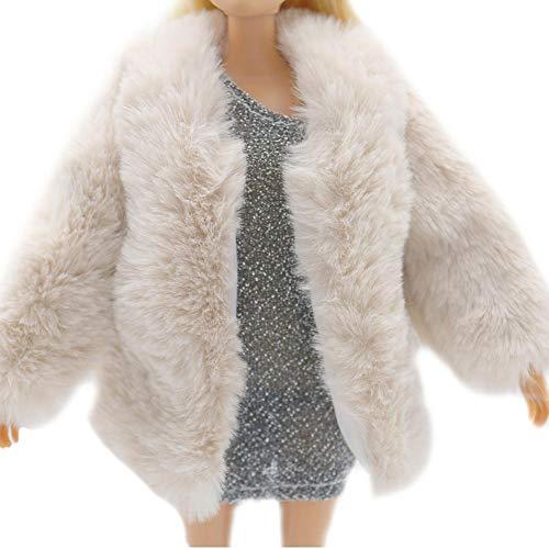 Ropa casual para mueca Barbie Abrigo de piel suave de manga larga Traje de franela Tops Vestido Invierno Ropa casual clida Accesorios Ropa para nios Juguete