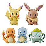 Yzoncd 5 Unids / Set Pokemon Pikachu Fila De Estaciones Adornos Colección Muñecas Figuras De Juguete De Acción Juguetes Modelo para Niños 4Cm