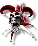 Graphic Effects Sticker vinyle petit 90mm bouffon riant crâne rouge - face à gauche