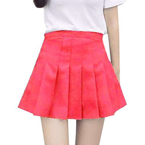Alwayswin Damen Mini Rock Schulmädchen-Stil Skater Röcke Faltenrock Schuluniform Basic Solid Sexy Tennisrock hohe Plissee Lässig Rock Informell Minirock Mini Skater Rock