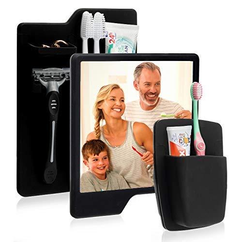 Utile 3er-Set selbstklebender Zahnbürstenhalter Badezimmer Set inklusive Rasierhalter und Badspiegel für Kinder und Erwachsene - Badezimmer Halterung für Zahnbürste, Rasierer und vieles mehr (schwarz)