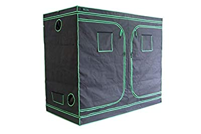 """Green Hut Grow Tent 96""""X48""""X78"""" 600D Mylar Hydroponic Indoor Grow Tent with Observation Window, Removable Floor Tray and Tool Bag for Indoor Plant Growing 8X4"""