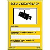 Normaluz RD30042 Señal Zona Videovigilada PVC Glasspack 0,7 mm 21x30 cm, Amarillo