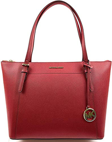 Michael Kors Ciara Large East West Top Zip Saffiano Leather Tote Bag Purse Handbag (Scarlet)