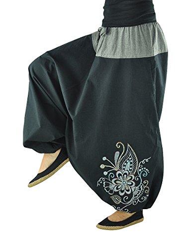 virblatt – Haremshose Damen Hippie Kleidung Yoga Kleidung - Nachtschattengewächs bk
