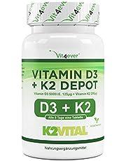 Vitamine D3 + K2 Depot - 180 tabletten met 5000 I.E + Vitamine K2 200 mcg per ÉÉN tablet - 99.7+% All-Trans (K2VITAL® by Kappa) - Hoog Gedoseer