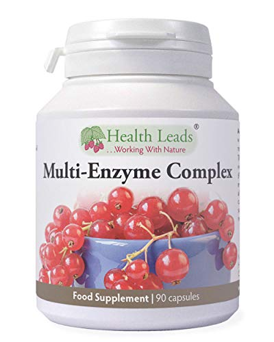Multi-Enzyme Digestive Complex x 90 Capsules (No Magnesium Stearate), Non-GMO, Up to 3 Months Supply, for Vegetarians and Vegans, High Potency Plant Derived Enzymes, Formulated & Made in Wales