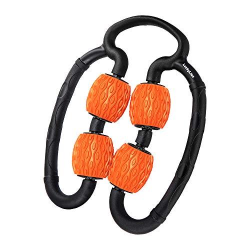 マッサージローラー LuckyLion 手持ち挟む式 グリッドフォームローラー 筋肉を揉みほぐす むくみ解消 ストレッチ フィットネス 筋膜 首 腰 足 ふくらはぎ リリース ストレッチローラー ヨガグッズ 360°回転 柔らかいエコ素材 便携 軽量 水洗い可能 日本語説明書付き(オレンジ)