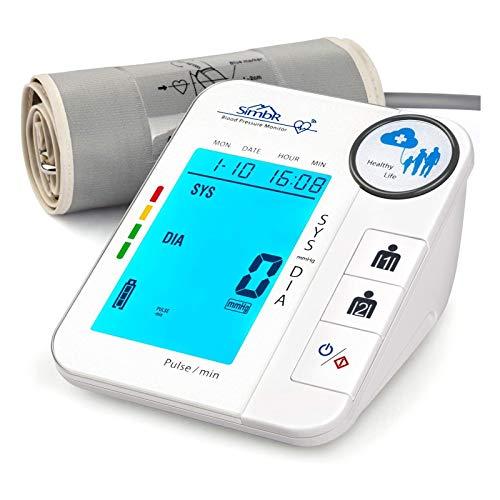 SIMBR Oberarm Blutdruckmessgerät mit 2x128 Speicher, Arrhythmie-Erkennung, Blutdruck messen BP Gerät für präzise Blutdruckmessung und Pulsmessung, mit LED Großbildschirm, dreifarbige Erinnerung