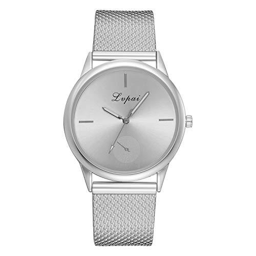 Tensay - Reloj de pulsera analógico para mujer, de cuarzo, correa de silicona, malla ultrafina, deportivo, para mujeres, niñas, regalo para novia, Plateado