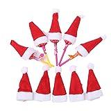 BESTOYARD 10 stücke Weihnachten Mini Red Santa Hüte Lollipop Candy Abdeckkappe Weihnachts Party Decor Desktop Dekoration Ornamente Kinder Geschenk für Weihnachten Urlaub Partei Liefert