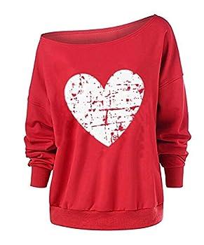 Red Heart Sweater Valentines Day Womens PlusSizeOffShoulderPulloverHeartPrintedSweatshirtLongSleeveShirtTops RH,XL