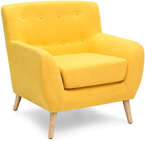 Best Best Choice Products Mid-Century Modern Linen Upholstered Button Tufted Accent Chair - Yellow
