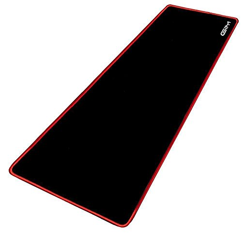Extended Gaming Mouse Pad, GIM Mouse Pad Large Size 3mm Thick Waterproof Mouse Mat Gaming Wide Long Functional Non-Slip Rubber Base and Black Edge (30.7 x 11.8 x 0.12 inches)-Red Edge