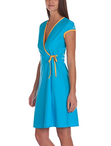 iQ-UV Damen 300 Beachdress, UV-Schutz Strandkleid Wickelkleid, Turquoise, L/XL