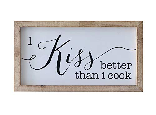 SANY DAYO HOME Rustic Wood Framed Signs 9 X 16 inch Hanging Farmhouse Wall Art Décor with Funny Saying for Home, Kitchen, Bathroom - I Kiss Better Than I Cook