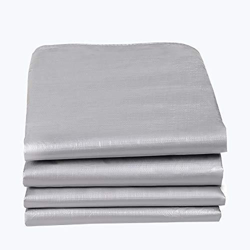 WangJUNXIU Persenning merk accessoires Heavy Duty Tarpaulin-tarp zilvergroene overkapping tent, boot.camper of zwembadafdekking van 99% UV-bescherming, waterdichte afdekking 4m×8m zilvergroen.