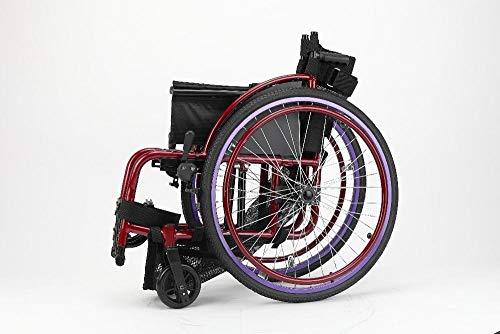 Rollstühle, die großen Reifen Falten, drücken Sportrollstuhl Purpurrot von Hand EIN