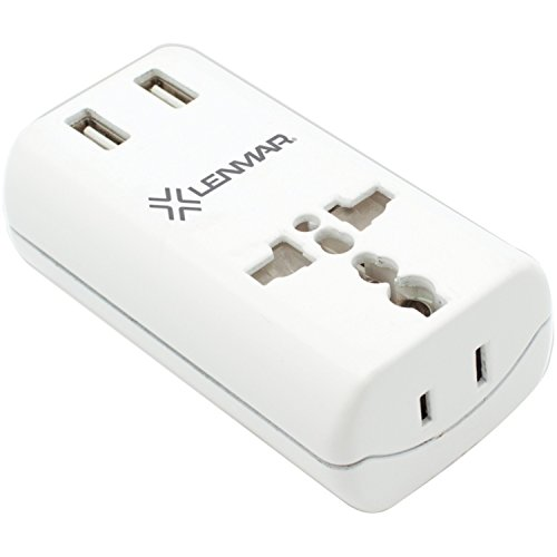 All-in-One International Travel Adapter with 2X USB Port, White for Europe; Middle East & Africa; Asia Pacific; South America; & South Pacific By Lenmar