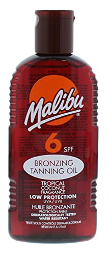 Malibu Low Sun Protection Water Resistant Bronzing Tanning Oil SPF 6 with Tropical Coconut Fragrance, 200ml