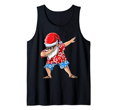 Dabbing Santa Christmas in July Funny Men Tropical Hawaiian Tank Top