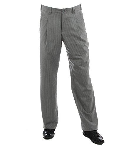 Grau Gestreifte Herren Bundfaltenhose Model Swing Größe 58