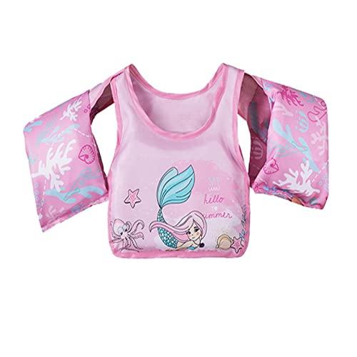 MANgd Children's Vest Swimming Ring, High Buoyancy, Twill Material, Durable Buoyany Suit, Safe And Reliable, Necessario per l'apprendimento del Nuoto, Adatto per Bambini Anni 2-7, Rosa