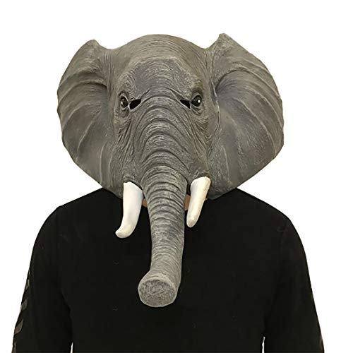 HATHAWAY Maschera Animale Elefante Maschera di Protezione Piena Head Set Lattice Naturale Cos Halloween Maschera di Protezione Piena Trucco del Partito di Ballo della Copertura della Testa Unica