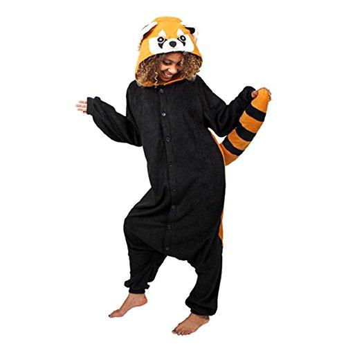 Anbelarui Waschbär Jumpsuit Tier Cartoon Fasching Halloween Kostüm Sleepsuit Cosplay Fleece-Overall Pyjama Schlafanzug Erwachsene Unisex Tier OneSize (L (166-175CM))